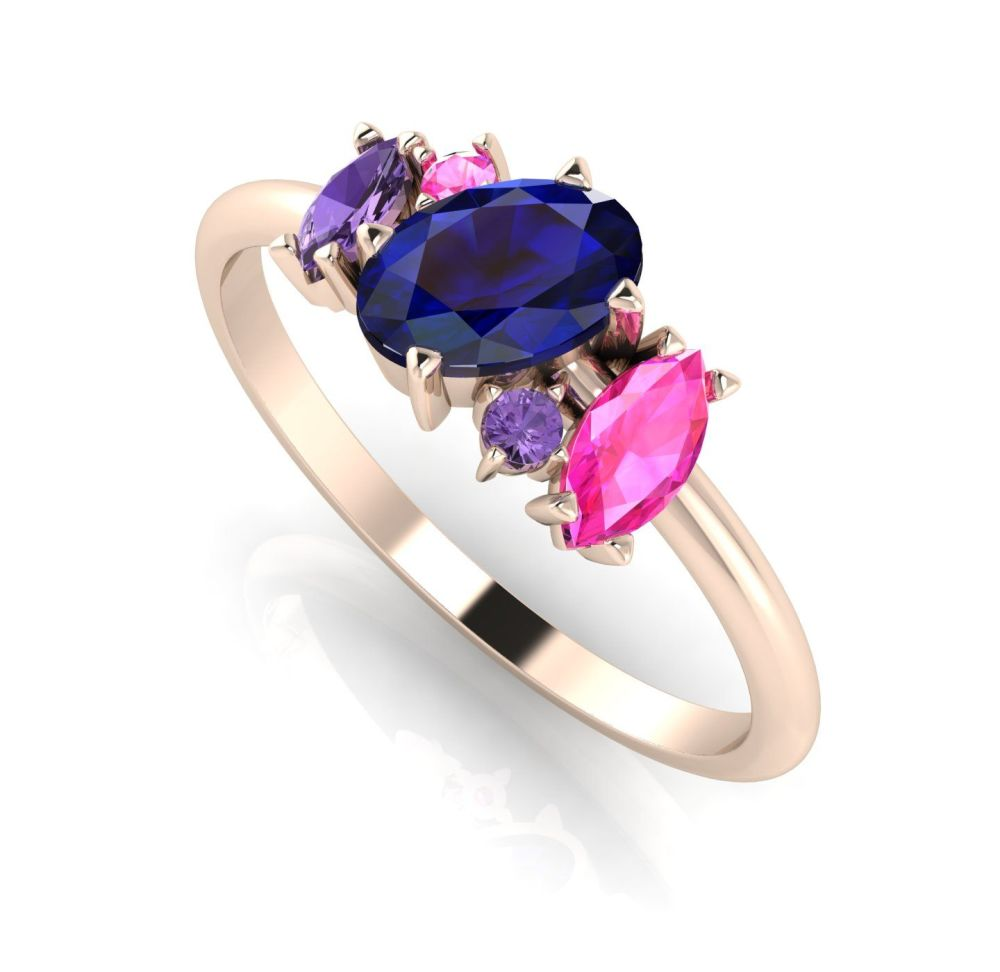 Atlantis: Blue Sapphire Rainbow Rose Gold