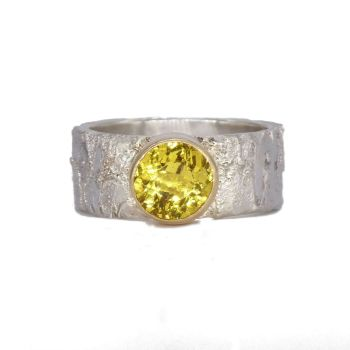 Golden Beryl  Yellow Gemstone Silver & Gold Ring