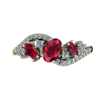 Atlantis Storm Ruby & Diamonds - White Gold