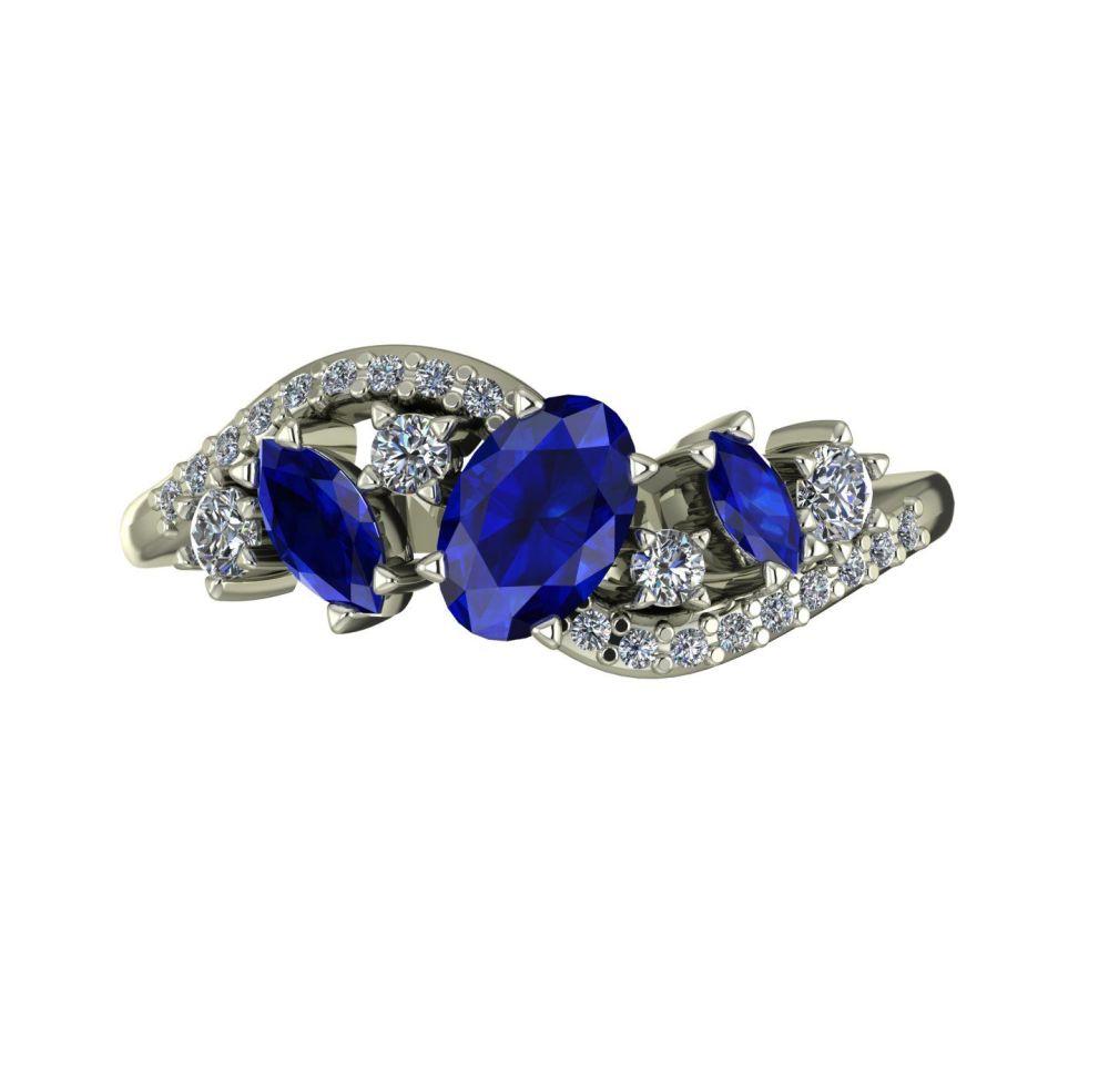Sapphire, Diamonds & White Gold
