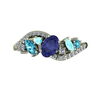 Atlantis Storm Tanzanite with  Zircon , Aquamarine & Diamonds - White Gold