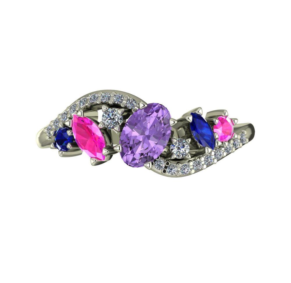 Violet Blue Pink & Diamonds White Gold