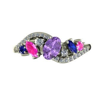 Atlantis Storm Violet , Blue & Pink Sapphire with diamonds - White Gold