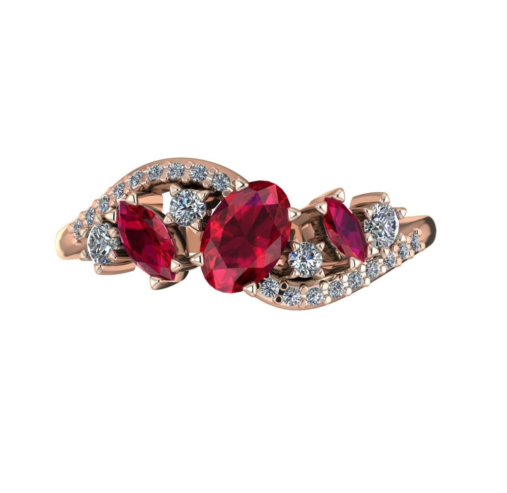 Ruby & Diamonds - Rose Gold