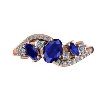 Atlantis Storm Blue Sapphire & Diamonds - Rose Gold