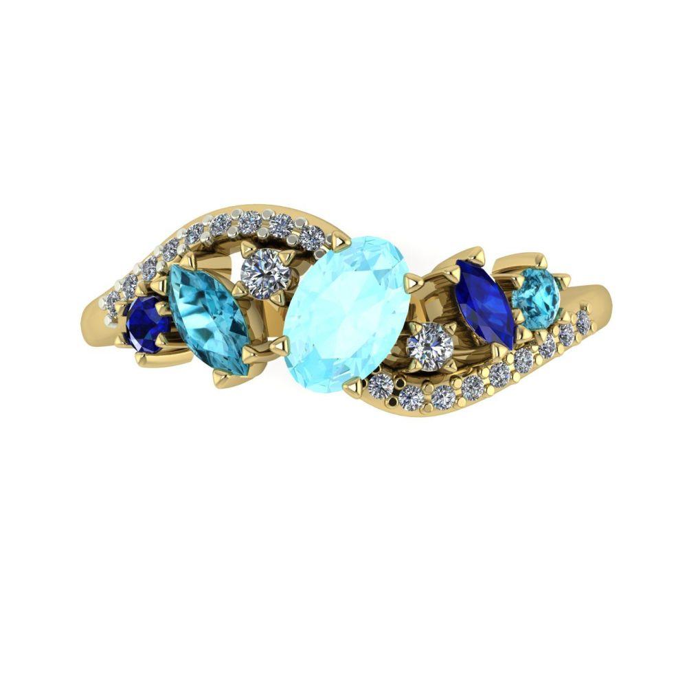 Aqua, Sapphire, Zircon, Diamonds, Yellow Gold