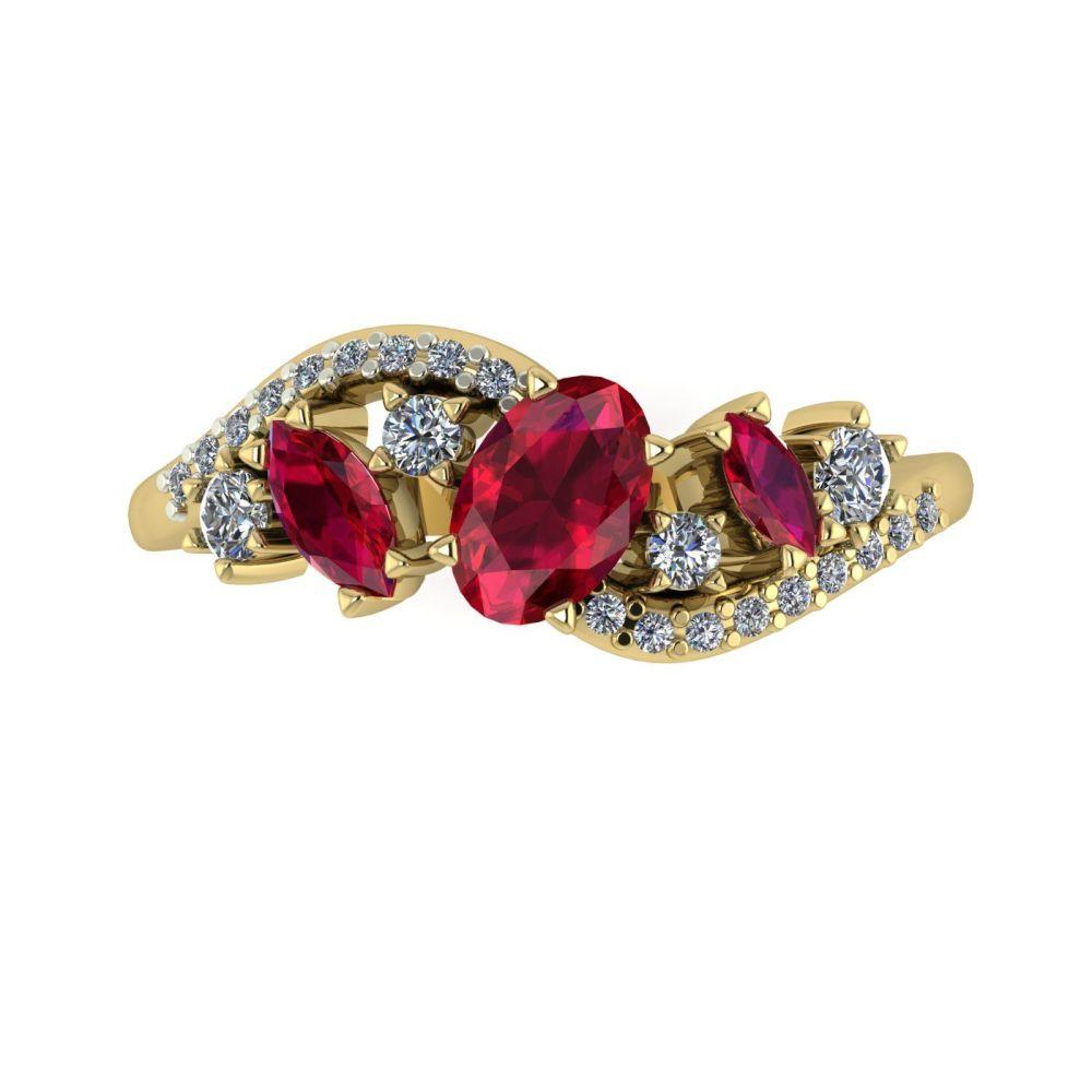 Ruby, Diamonds - Yellow Gold
