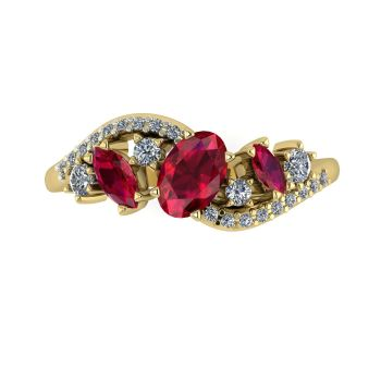 Atlantis Storm Ruby & Diamonds - Yellow Gold