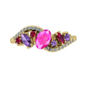 Atlantis Storm Pink Sapphire With Violet Sapphire, Rubies And Diamonds - Yellow Gold