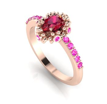 Garland: Ruby , Pink Sapphires & Rose Gold Ring