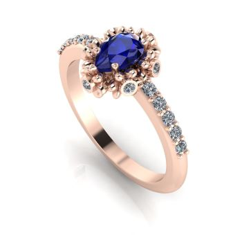 Garland: Sapphire, Diamonds & Rose Gold Ring
