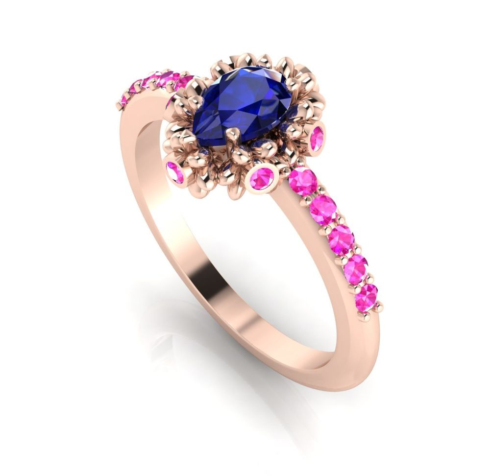 Garland: Sapphire, Pink Sapphires & Rose Gold Ring