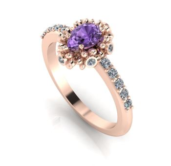 Garland: Violet Sapphire & Diamonds Rose Gold Ring