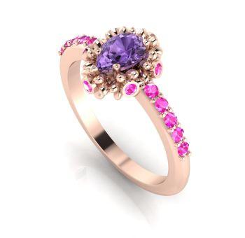 Garland: Violet & Pinks Sapphires Rose Gold Ring