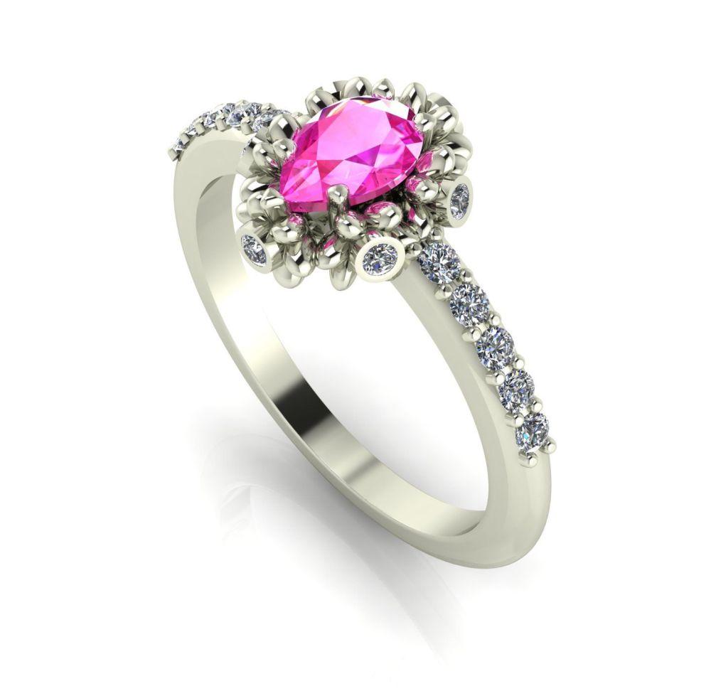 Garland: Pinks Sapphire, Diamonds & White Gold Ring