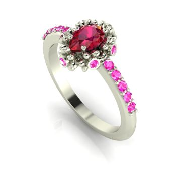Garland: Ruby, Pink Sapphires & White Gold Ring