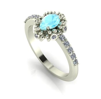 Garland: Aquamarine, Diamonds & White Gold Ring