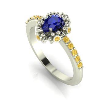 Garland: Sapphire, Yellow Diamond & White Gold Ring