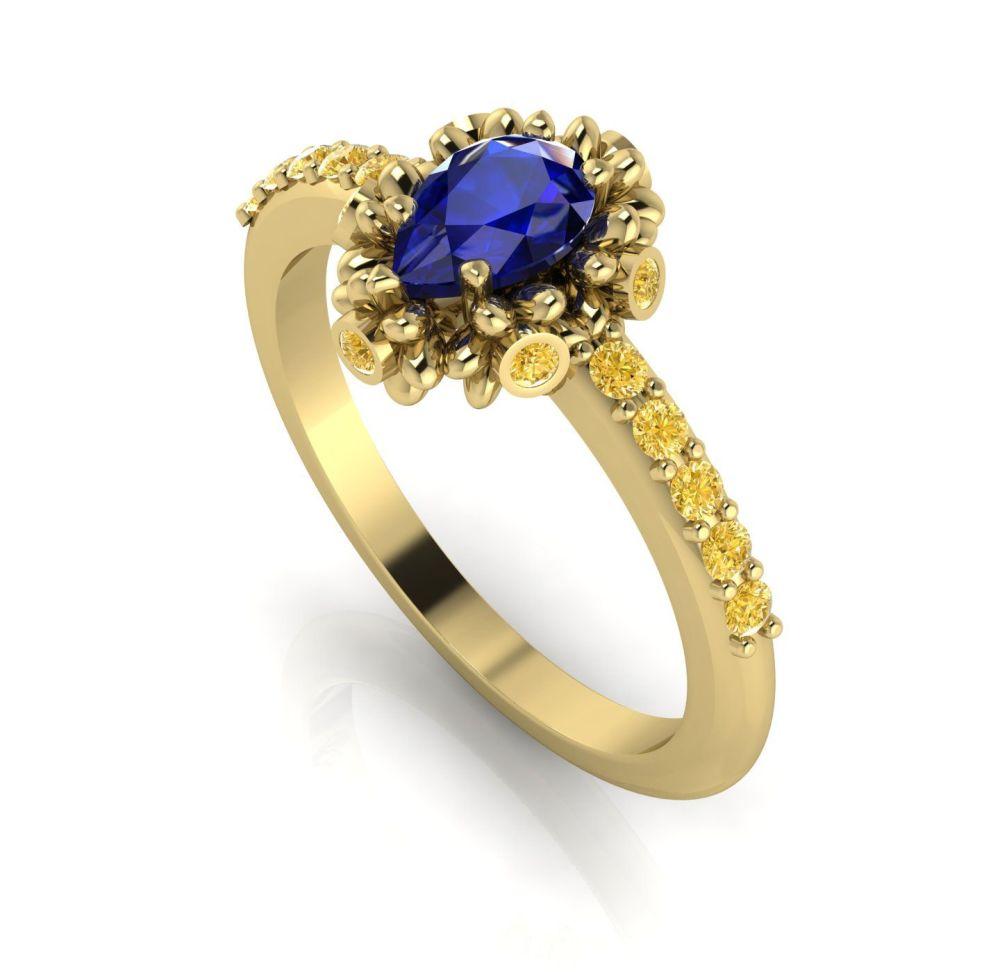 Garland: Sapphire, Yellow Diamonds & Gold Ring
