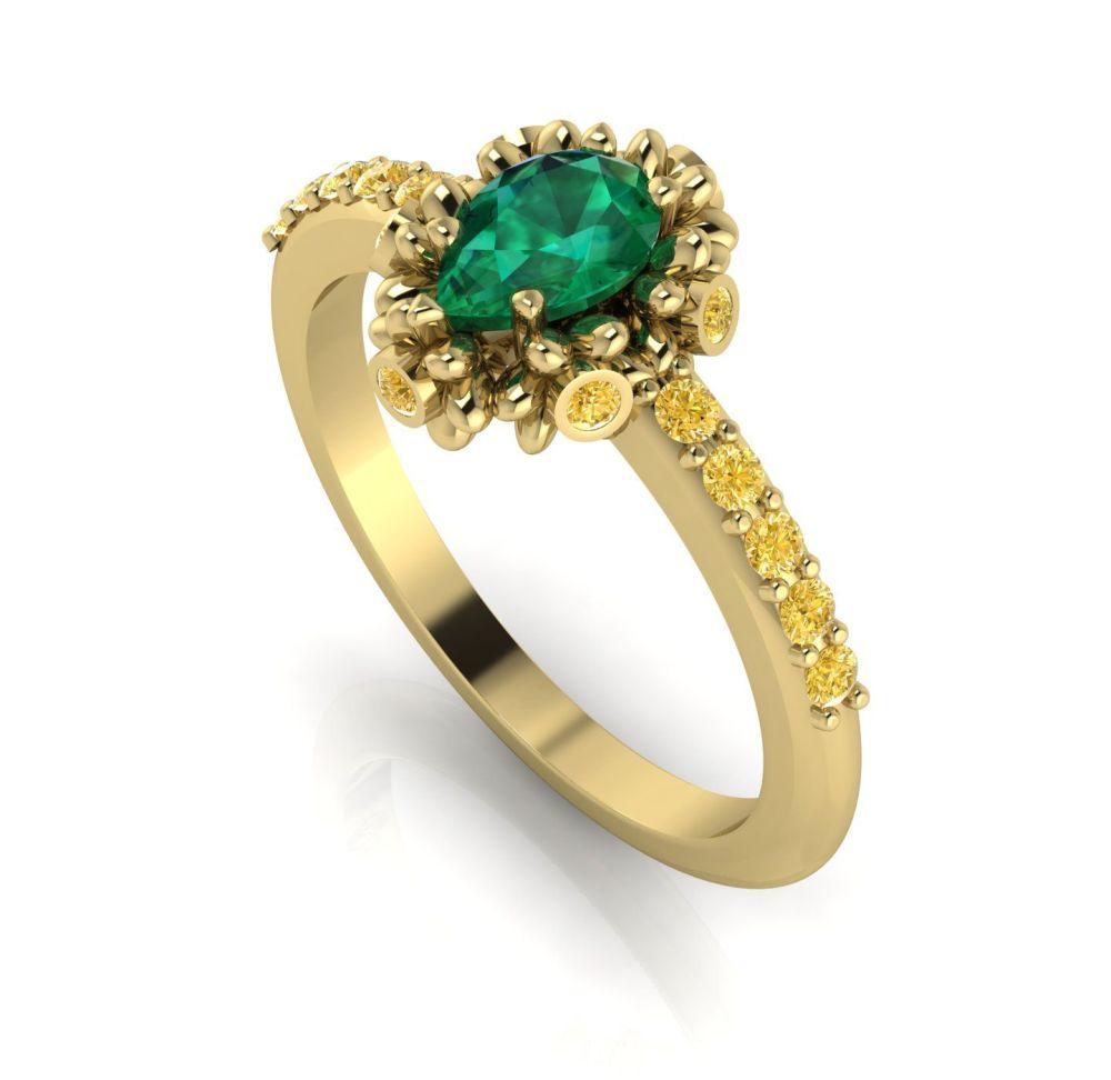 Garland: Emerald, Yellow Diamonds & Gold Ring