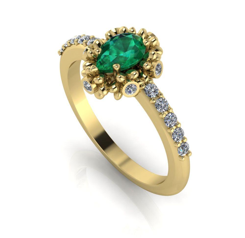 Garland: Emerald, Diamonds & Gold Ring