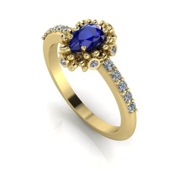 Garland: Sapphire, Diamonds & Gold Ring