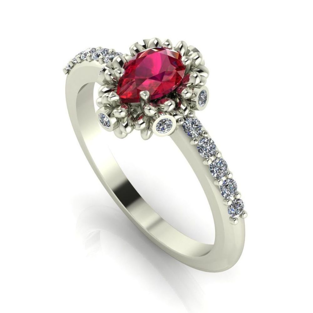 Garland: Ruby, Diamonds & White Gold Ring
