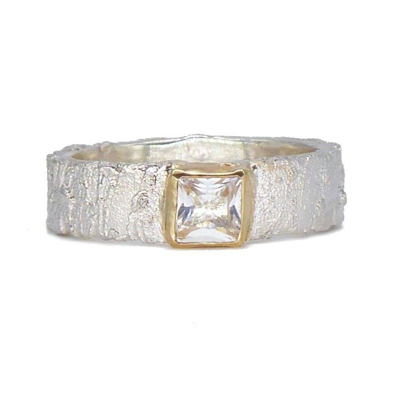 White Topaz Silver Ring
