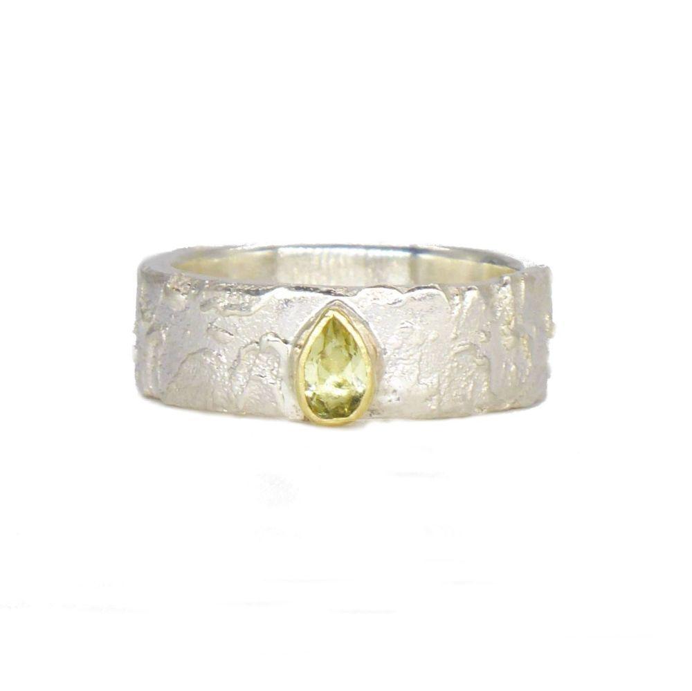 Unique Lemon Gemstone Silver Ring