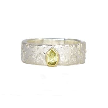 Unique Lemon Gemstone Silver Ring
