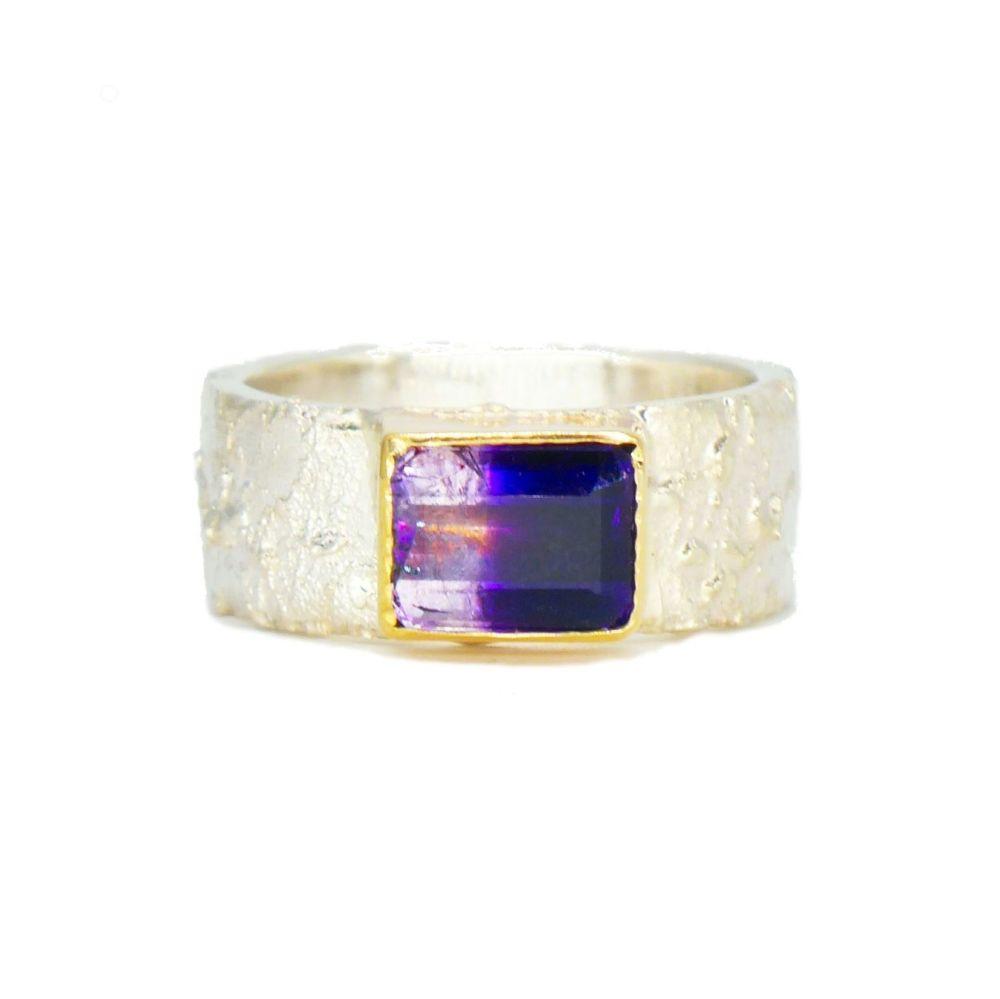 Bi-Colour Amethyst Rivda Gemstone Ring