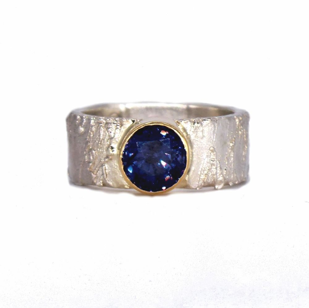 Purple - Black Spinel Rivda Gemstone Ring