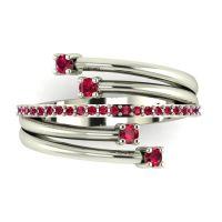 White Gold Strands Ruby Eternity Ring
