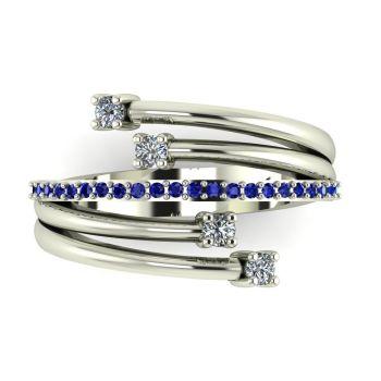 White Gold Strands Diamond & Sapphire Eternity Ring