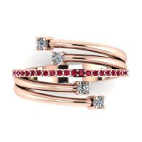 Rose Gold Strands Ruby  & Diamond Eternity Ring