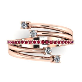 Rose Gold Strands Ruby  & Diamond Eternity Ring