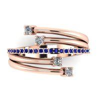 Rose Gold Strands Diamond & Sapphire Eternity Ring