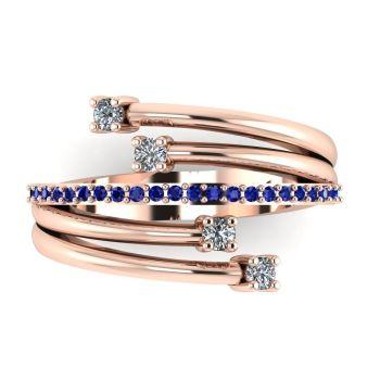 Rose Gold Strands Diamond & Sapphire Eternity Ring