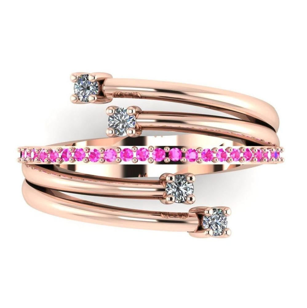 Rose Gold Strands Diamond  & Pink Sapphire Eternity Ring