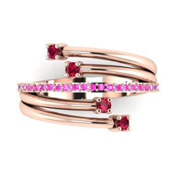Rose Gold Strands Rubies & Pink Sapphire  Eternity Ring