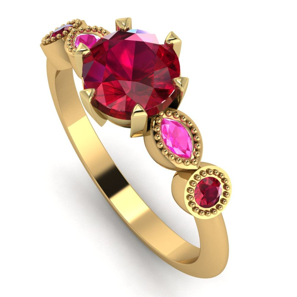 Milena - Ruby and Pink Sapphire Ring