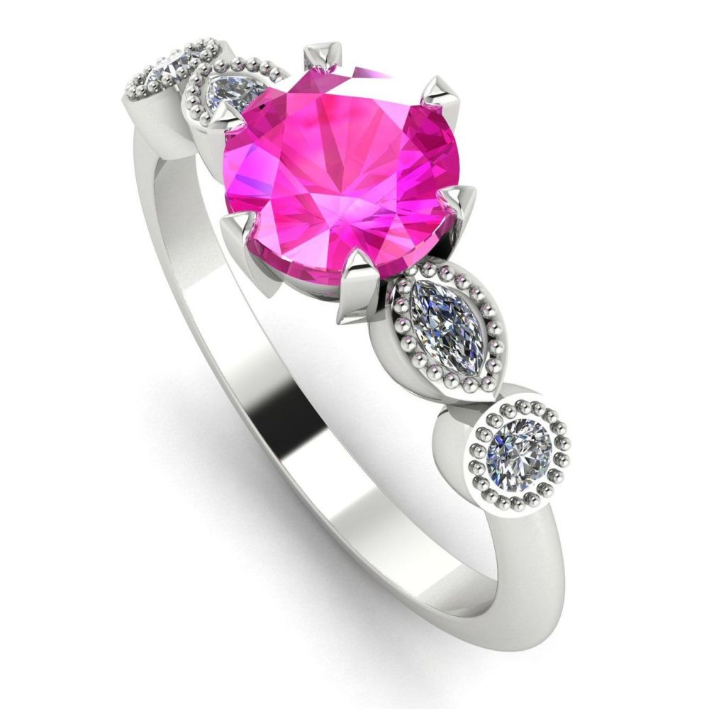 Milena - Pink Sapphire  & Diamonds - White Gold