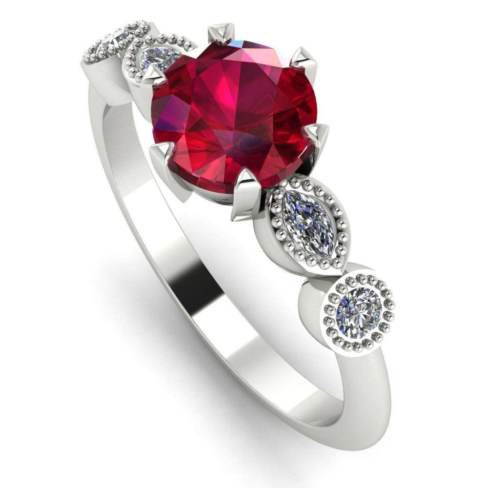 Milena - Ruby & Diamonds - White Gold