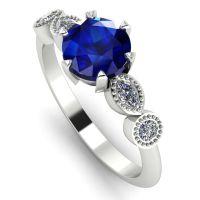 Milena - Sapphire and Diamonds - White Gold