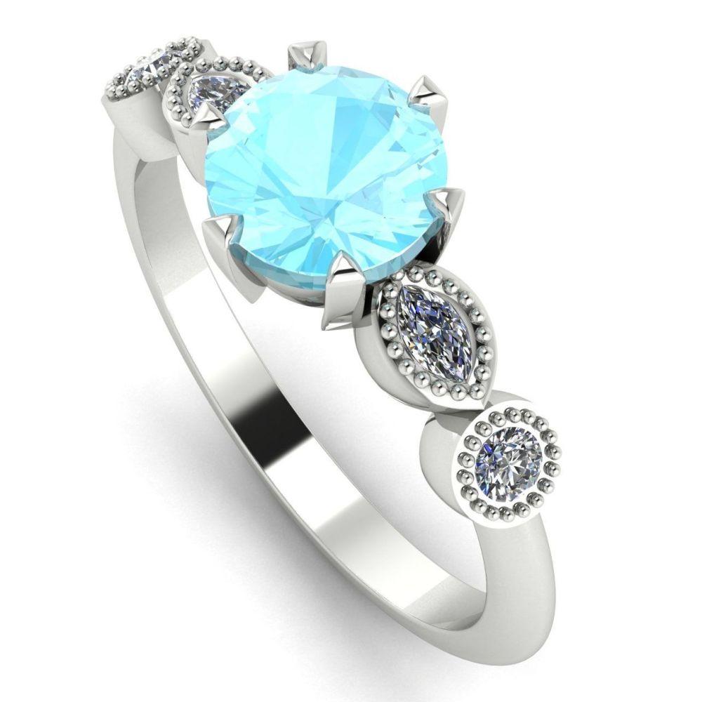 Milena - Aquamarine & Diamonds - White Gold