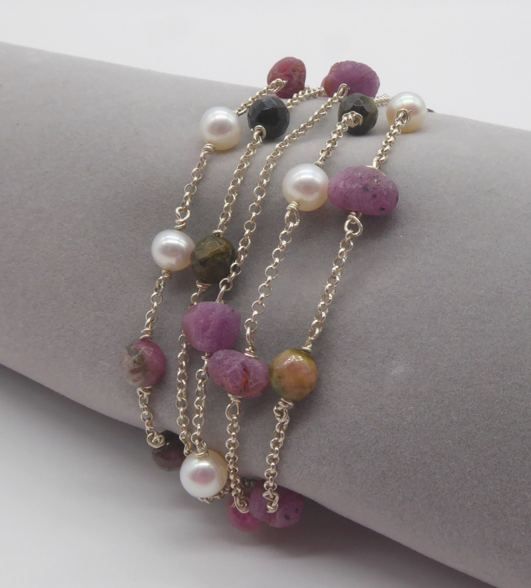 ruby,  tourmaline and pearl bracelet