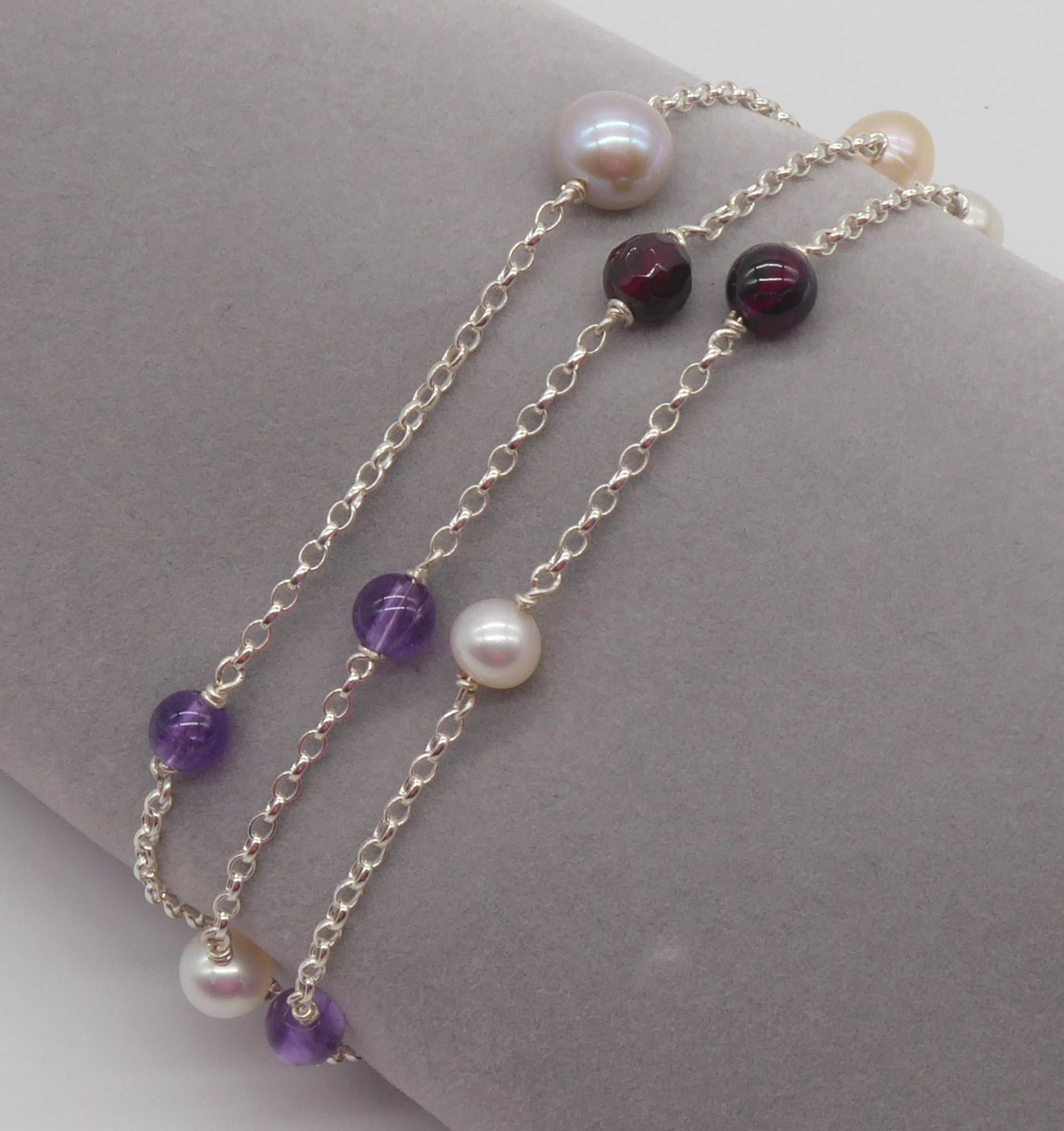 garnet, pearl and amethyst bracelet