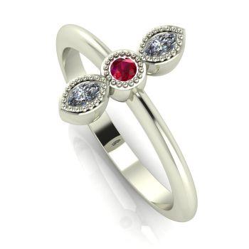 Astraea Trilogy - Ruby, Diamond & White Gold Ring