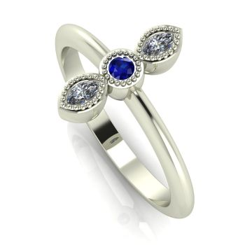 Astraea Trilogy - Sapphire, Diamond & White Gold Ring
