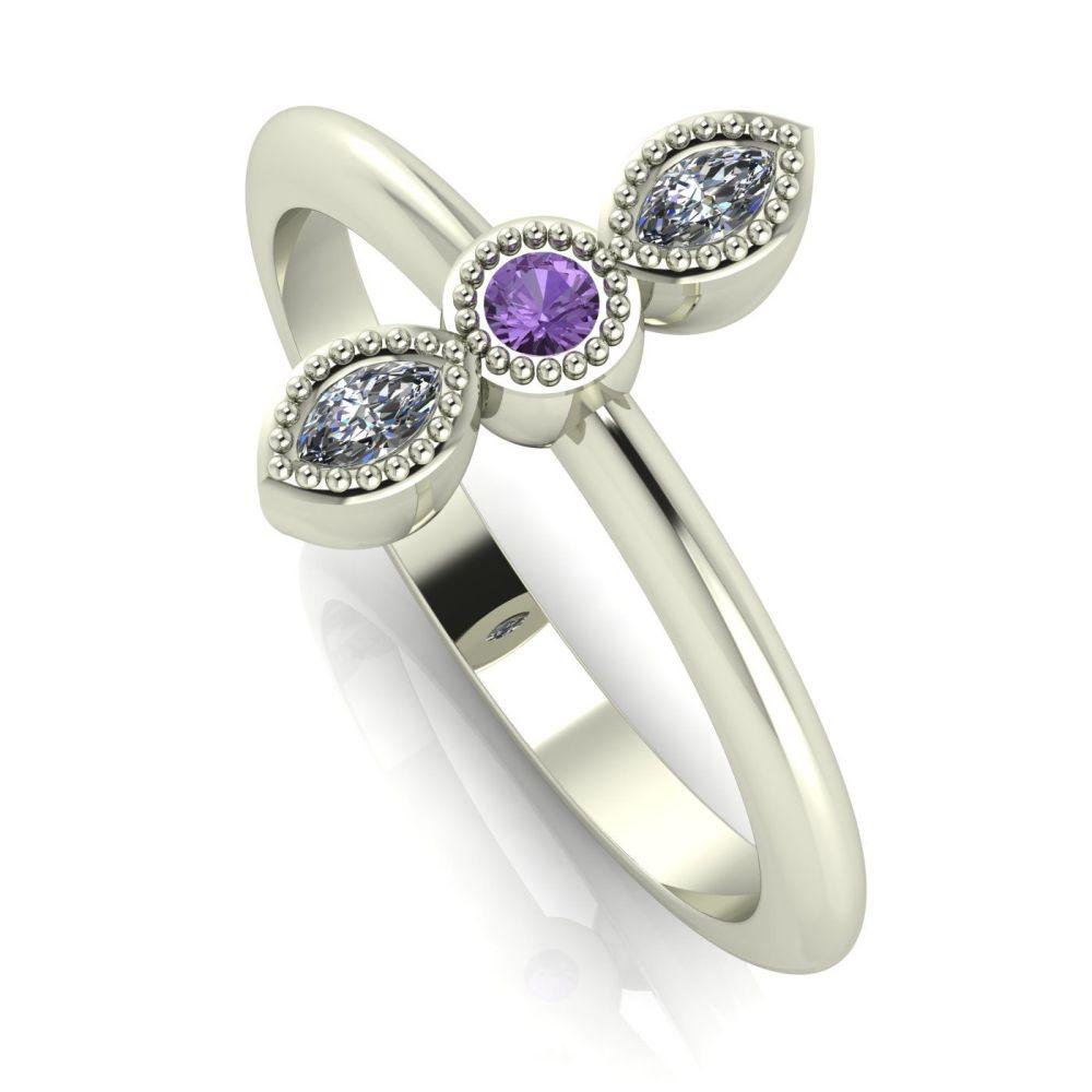 Astraea Trilogy - Violet Sapphire, Diamond & White Gold Ring